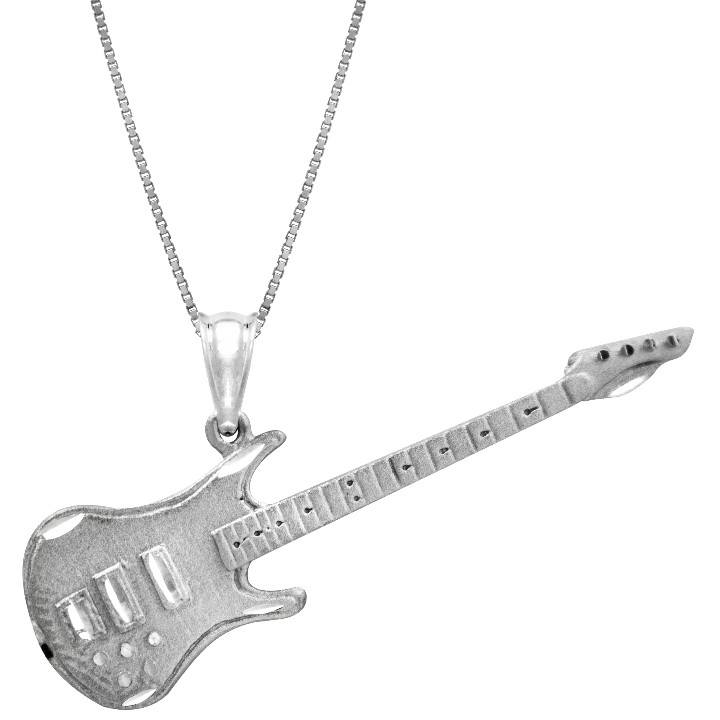 Honolulu Jewelry Company Sterling Silver Guitar Necklace Pendant