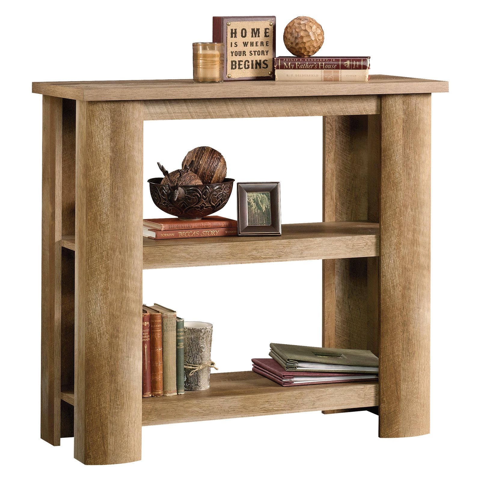 Sauder Boone Mountain 3 Shelf Bookcase in Craftsman Oak
