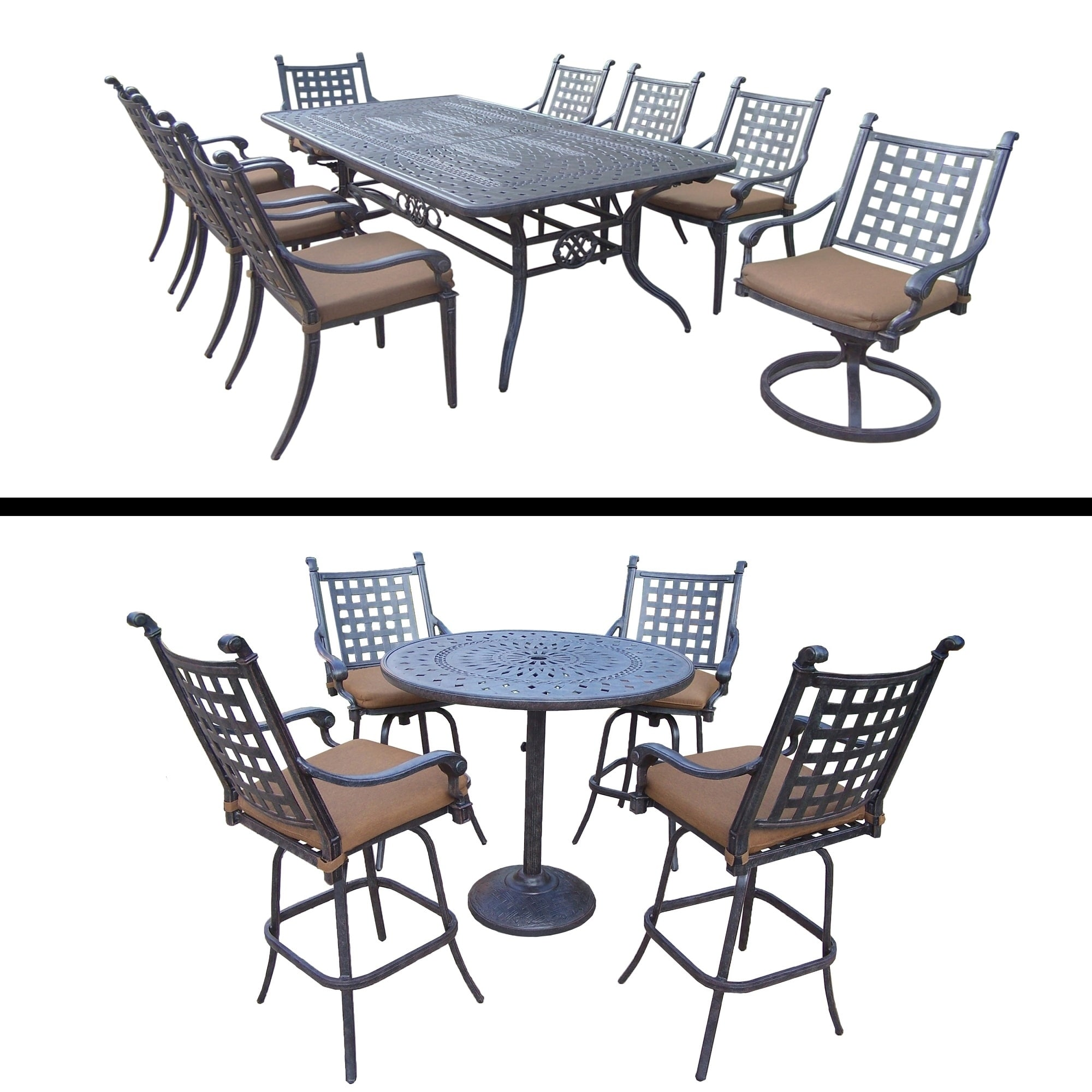 Oakland Living 5 Pc Bar Set with 4 Swivel Bar Stools and 9 Pc Dining Room Set with Extendable Table, 6 Chairs, 2 Swivel by Overstock