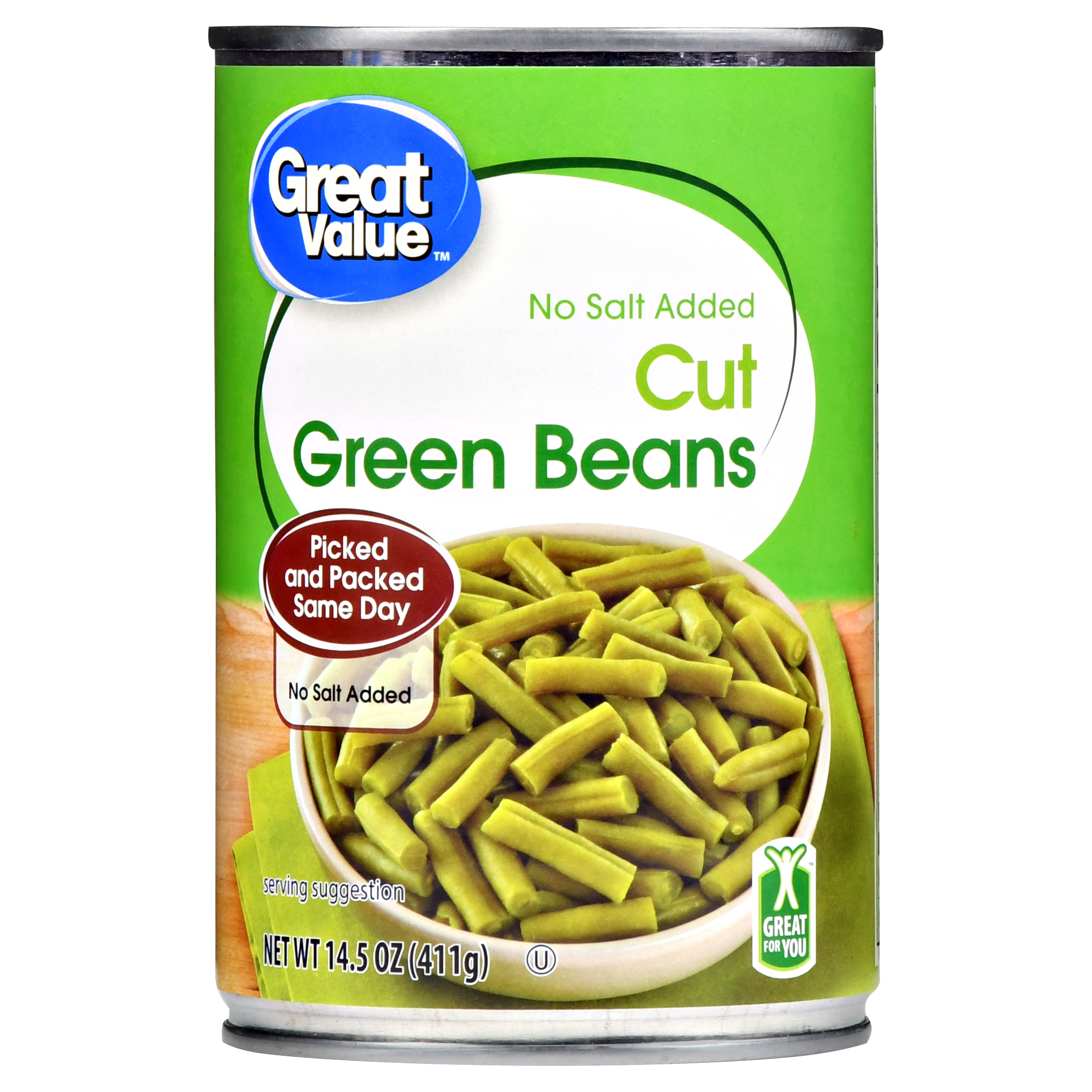 Great Value Cut Green Beans, No Salt Added, 14.5 Oz (6 Packs)