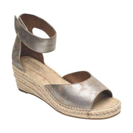 Women's Rockport Cobb Hill Kairi 2 Piece Ankle Strap Wedge Silver Platform Wedge Shoes