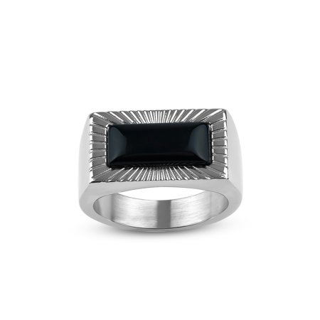 - Rectangle Onyx 316L Stainless Steel Flat-Top Ring