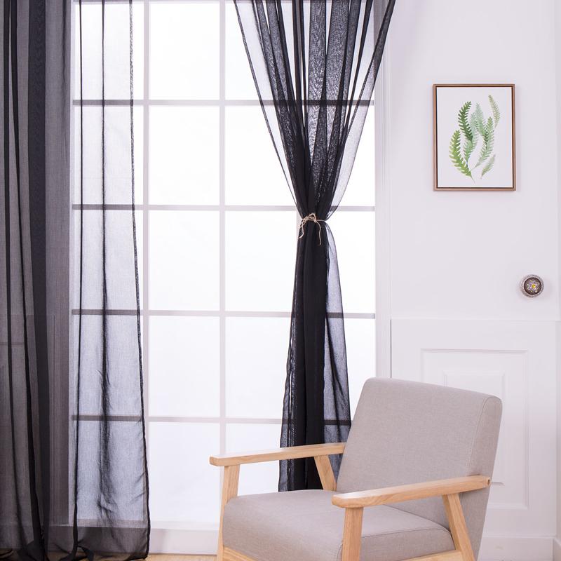Home High Thread Rod Pocket Sheer Voile Curtain Panel Window Curtains Black
