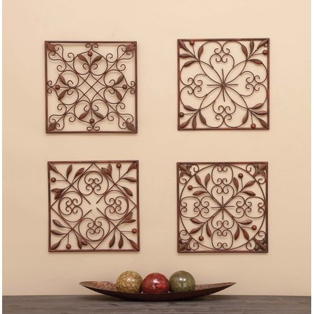 - Decmode Rustic Bronze Scrolled Metal Wall Decor - Set of 4