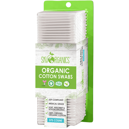 Cotton Swabs Organic (375 Ct.) Natural Cotton Buds, Cruelty-Free Cotton Swabs, Biodegradable All Natural Cotton Swabs Chlorine-Free Hypoallergenic Cotton Swabs Organic Cotton Swabs