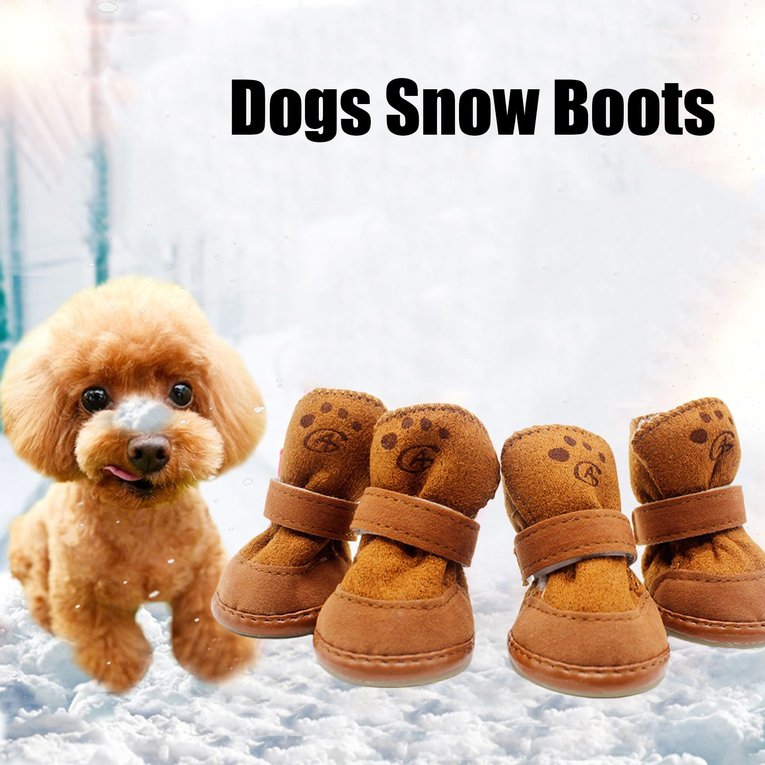 4Pcs Dogs Snow Boots Winter Warm Soft Cozy Cashmere Pets Dog Shoes Anti-Skid Dog Shoes