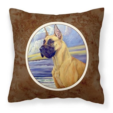 Carolines Treasures 7101PW1414 Fawn Great Dane at the Beach Fabric Decorative Pillow - image 1 of 1