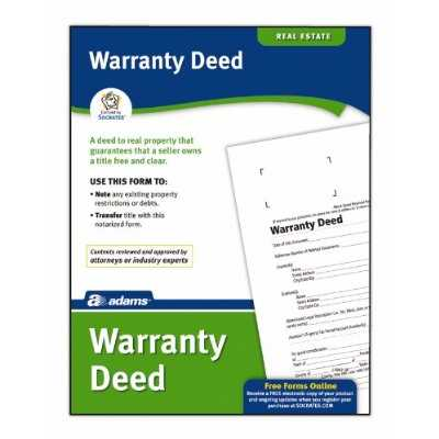Adams Business Forms Warranty Deed Forms and Instruction (Set of 6) (Set of 288)