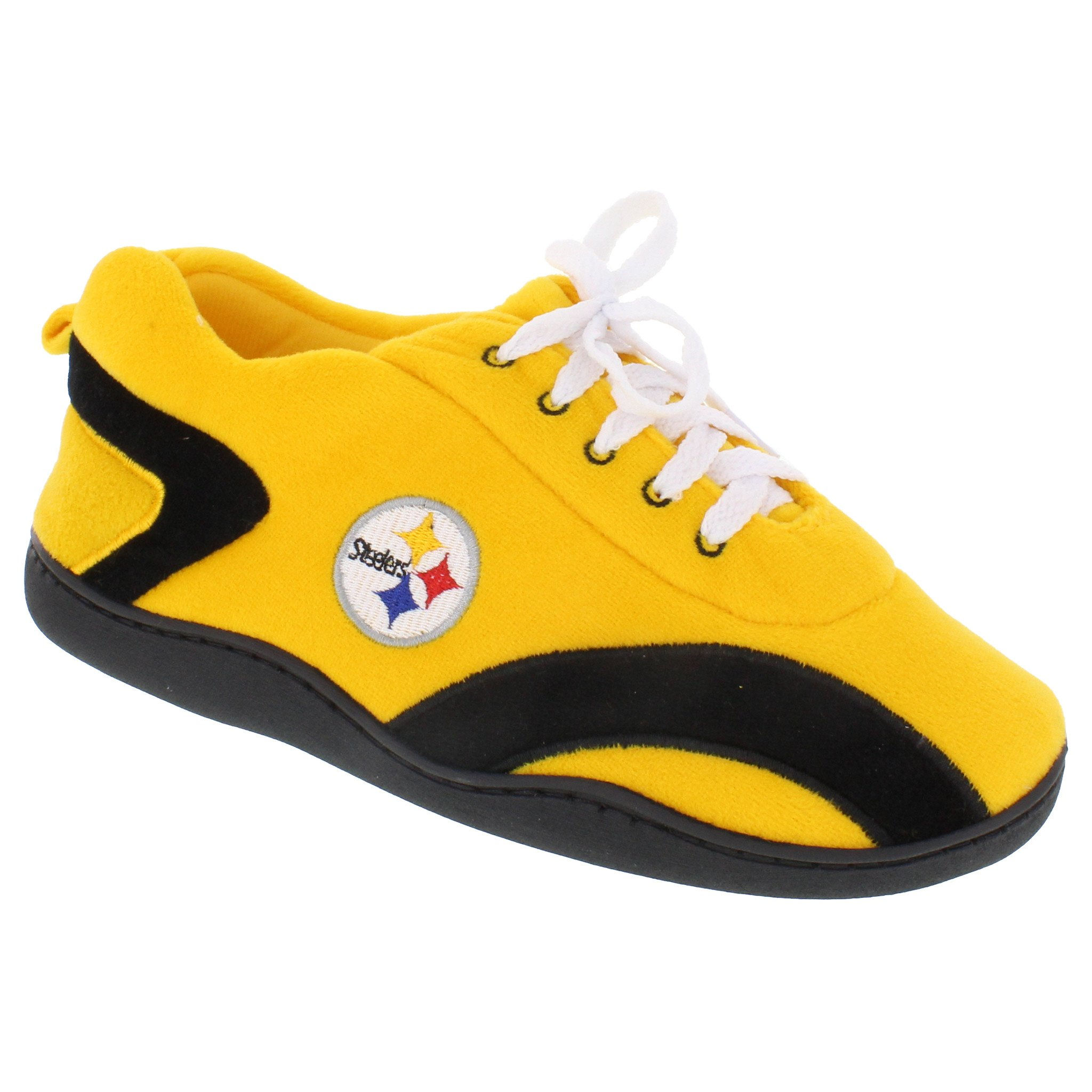 Happy Feet Mens and Womens Pittsburgh Steelers NFL All Around Slippers