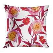 ECCOT Colorful Abstract Floral Pattern Delicate Pink Roses Bright Red Leaves Small Flowers Green Accent Beauty Pillowcase Pillow Cover Cushion Case 18x18 inch