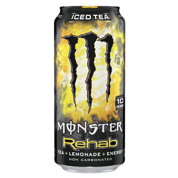 Monster Rehab Energy Drink Tea + Lemonade 15.5 Ounce Cans - Pack of 24