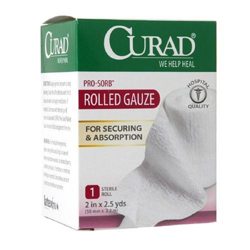 "Curad Pro-Sorb Rolled Gauze Sterile Roll, White, 2"" x 2.5 yds (Pack of 6)"