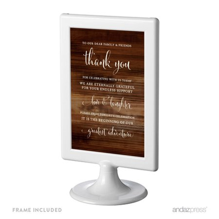 To Our Family & Friends, Thank You Framed Rustic Wood Wedding Party Signs](Wedding Ceremony Signs)
