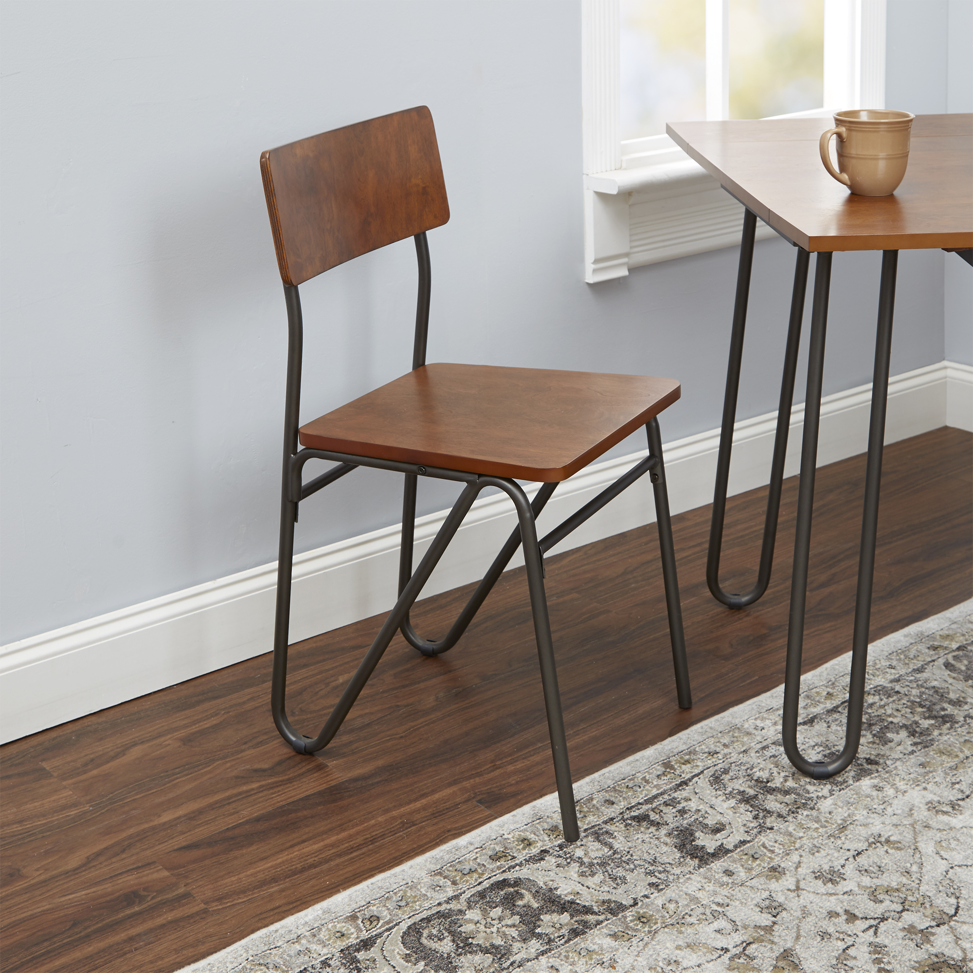 Silverwood Henry Wood and Metal Dining Chair with Hairpin Legs