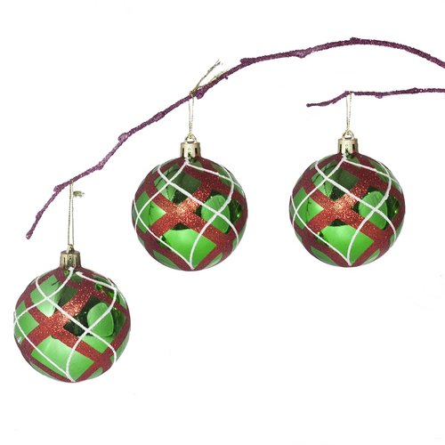 Perfect Holiday 2.75'' Shatterproof Handpainted Christmas Ball Ornament (Set of 3)
