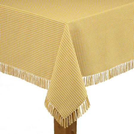 "Lintex Linens Homespun Check 100% Cotton Woven Fringed Tablecloth 52""X52"", Gold"