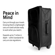 """K-Cliffs Compressable Rolling Suitcase Carry-on Luggage 20"""" x 13.75"""" x 7"""", Black"""