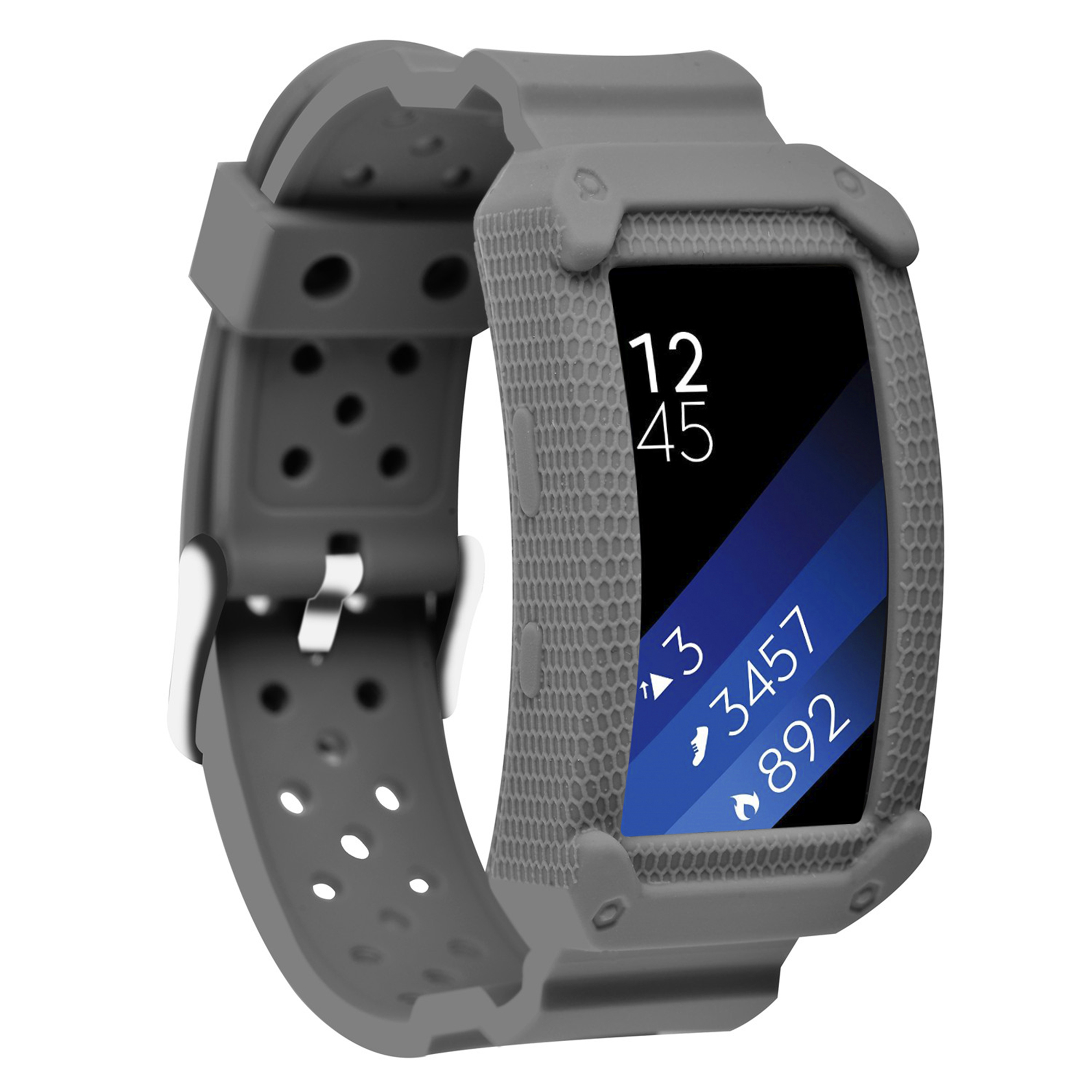 Moretek Gear Fit2&Fit 2 Pro bands , Frame Rugged Protective Case with Strap Bands for Samsung Gear fit 2 fit 2 pro Smartwatch(New Grey)