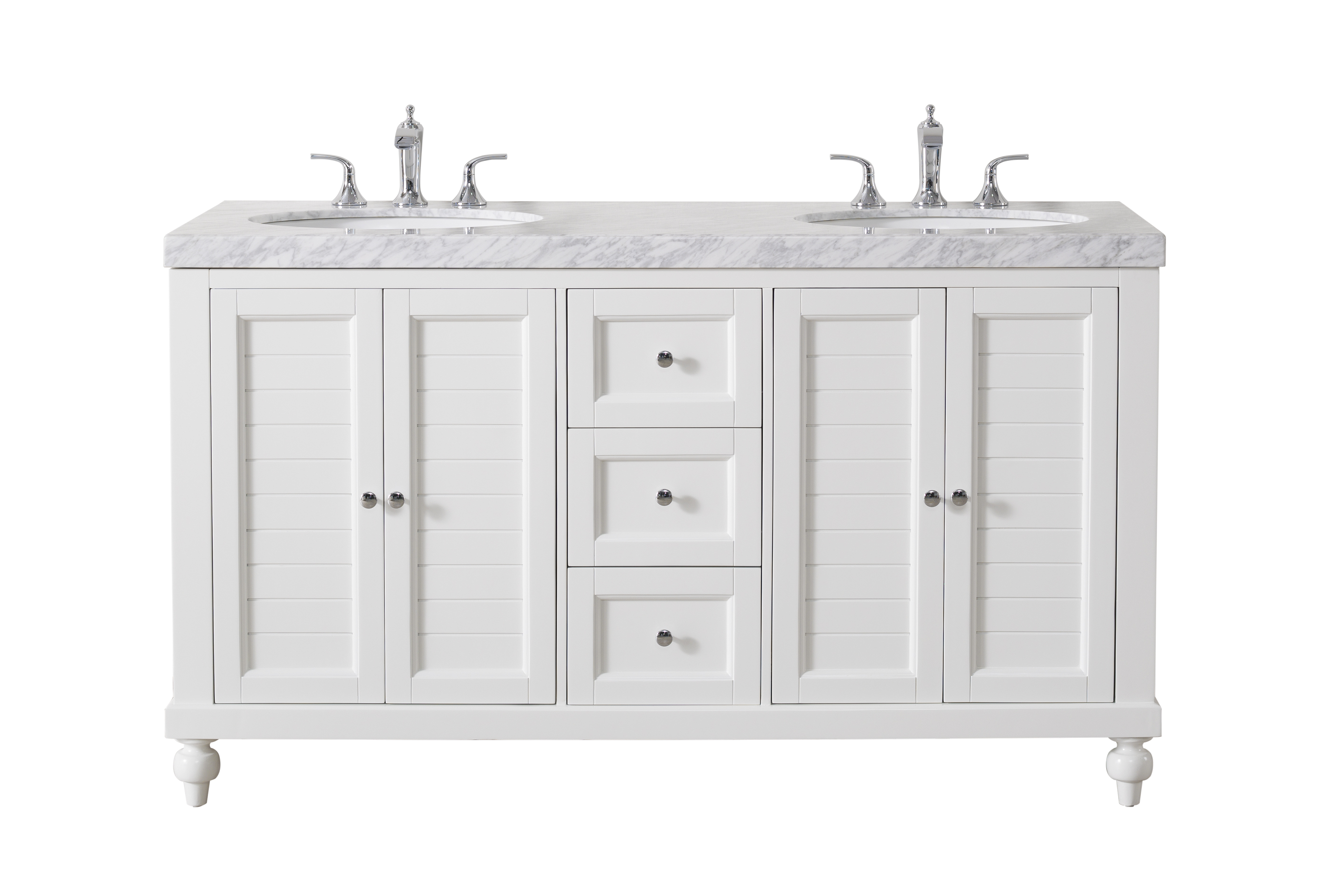 Stufurhome Kent 60 Inch White Double Sink Bathroom Vanity With Drains And Faucets In Chrome Walmart Com Walmart Com