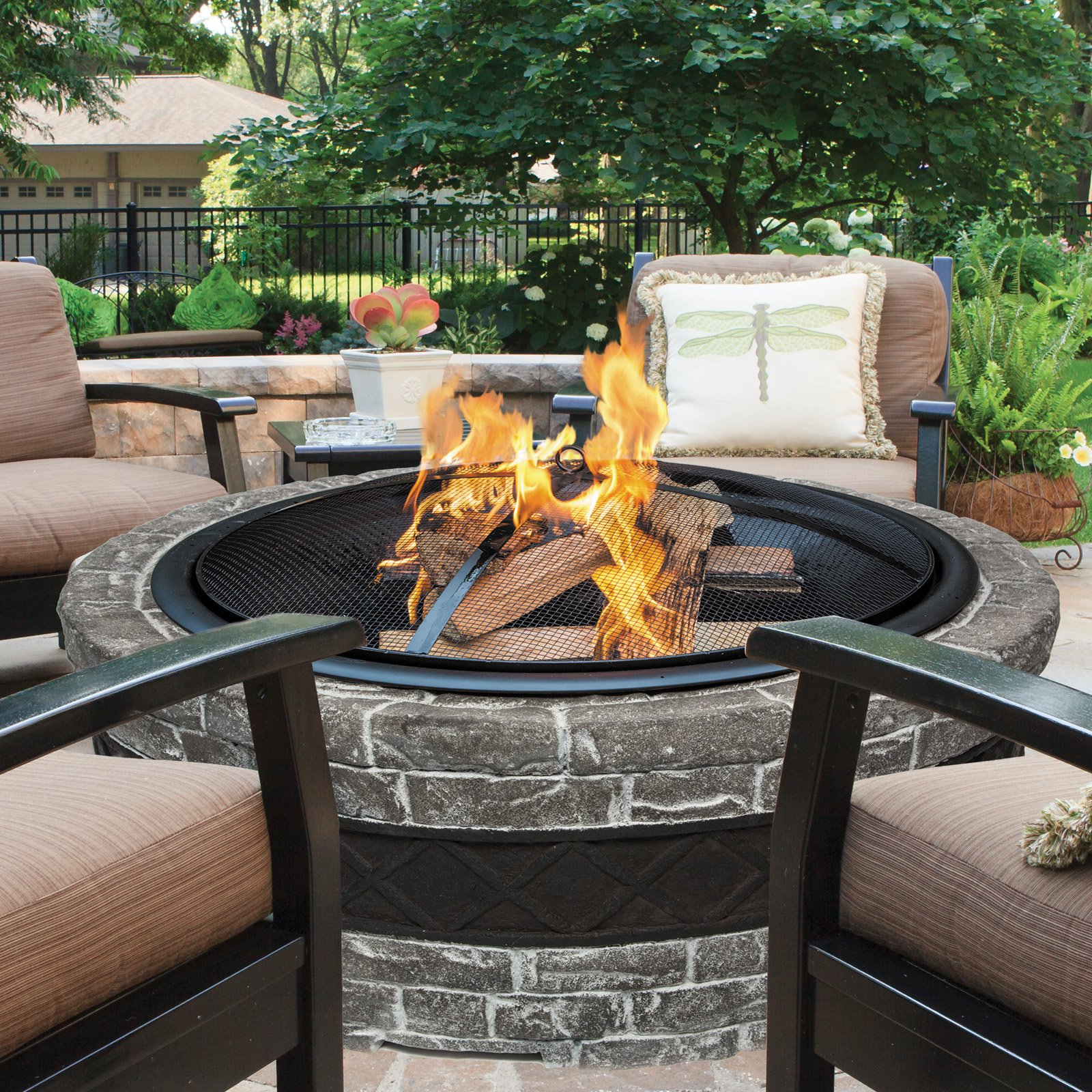 Sun Joe SJFP28-STN-CS Cast Stone Fire Pit | 28 inch (Charcoal Gray)