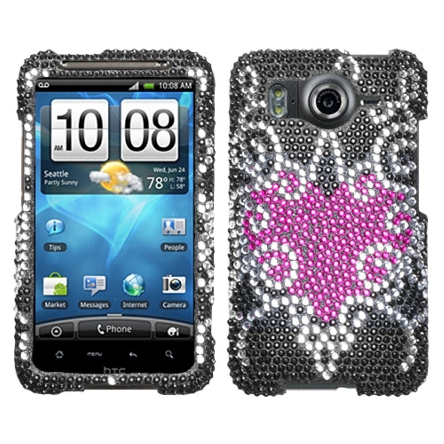 Insten Trapped Heart Diamante Case for HTC: Inspire 4G