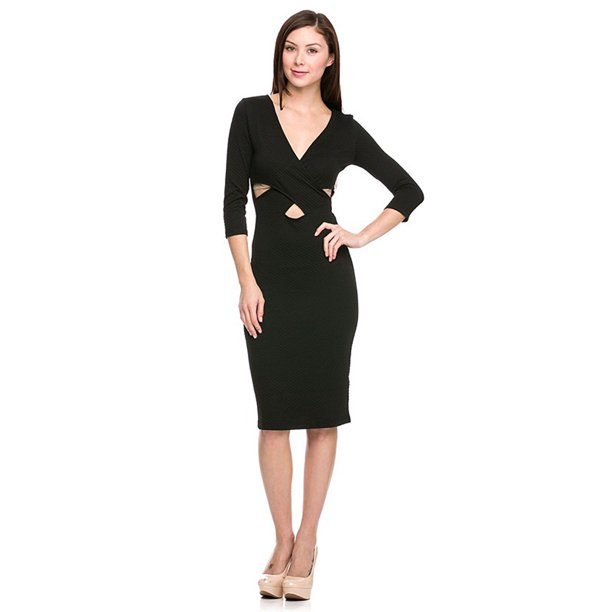 Vivian's Fashions Dress - 3/4 Sleeve, Little Black Dress