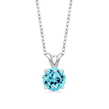 Round Blue Topaz Stone Pendant (0.60 Ct Round Swiss Blue Topaz 925 Sterling Silver Pendant With Chain )
