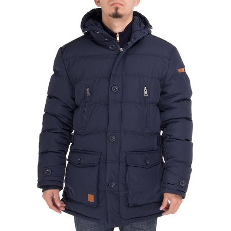 Luciano Natazzi Men's Down Jacket Thermal Padded Classic Oxford Parka Coat Navy - Oxford Coat