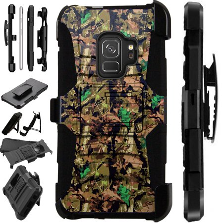 For Samsung Galaxy S9 Plus Case Armor Hybrid Silicone Cover Stand LuxGuard Holster (Camo Oak