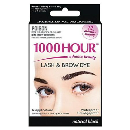 1000 Hour Eyelash & Brow Dye / Tint Kit Permanent Mascara (Best Home Eyelash Dye Kit)