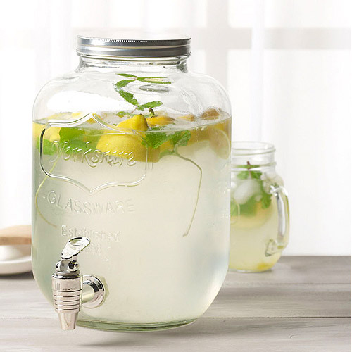 Tabletops Gallery 5-liter Glass Yorkshire Drink Dispenser with Metal Lid