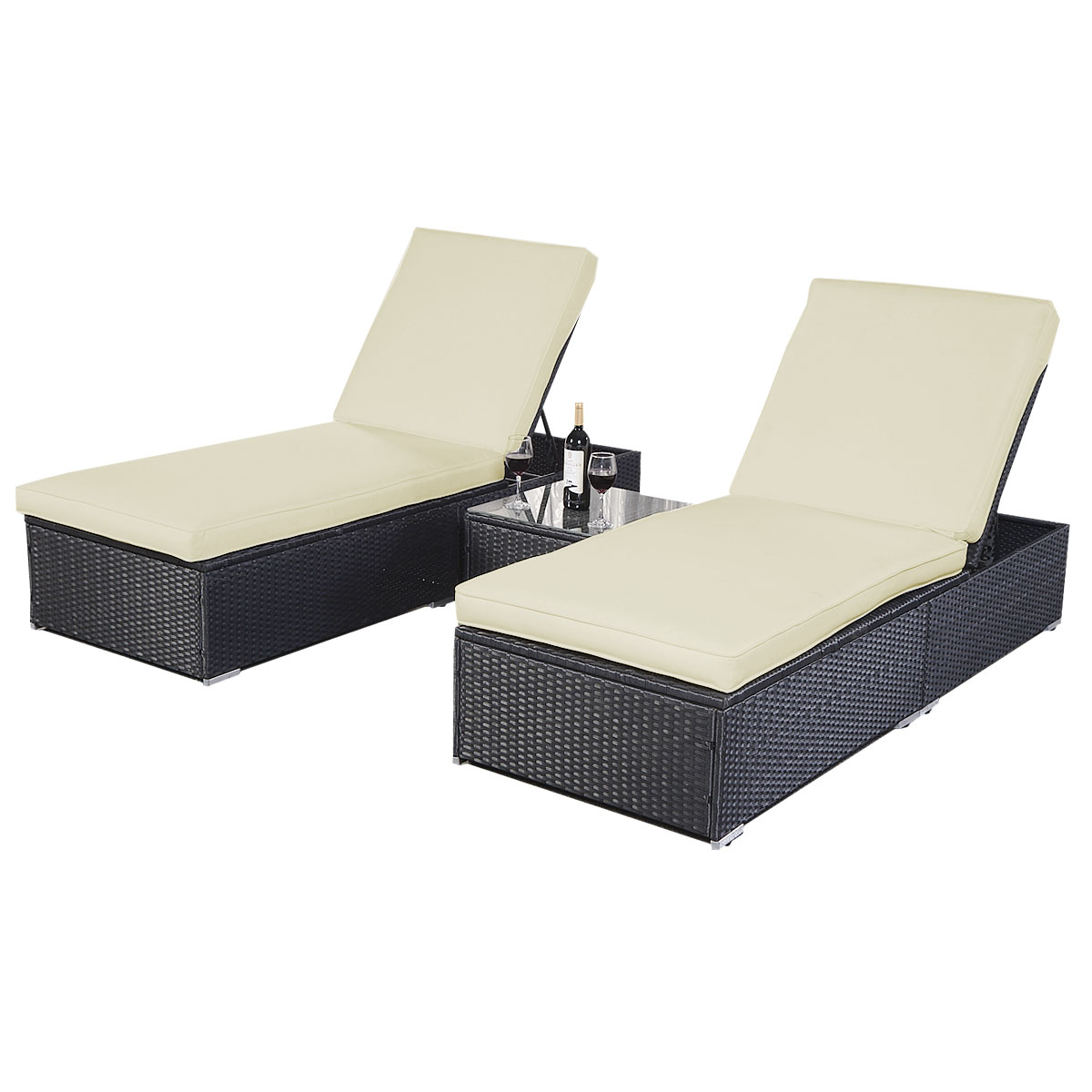 Costway 3 Piece Wicker Rattan Chaise Lounge Chair Set Patio Steel