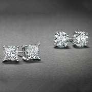 White Gold Plated Stud Earrings Cubic Zirconia Round And Princess Cut 2PC CZ Earrings Set