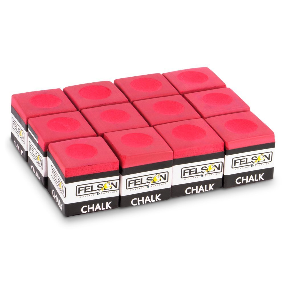 Pool Cue Chalk, Red Box Of 12 Cubes Billiard Accessories Chalks, Value Pack