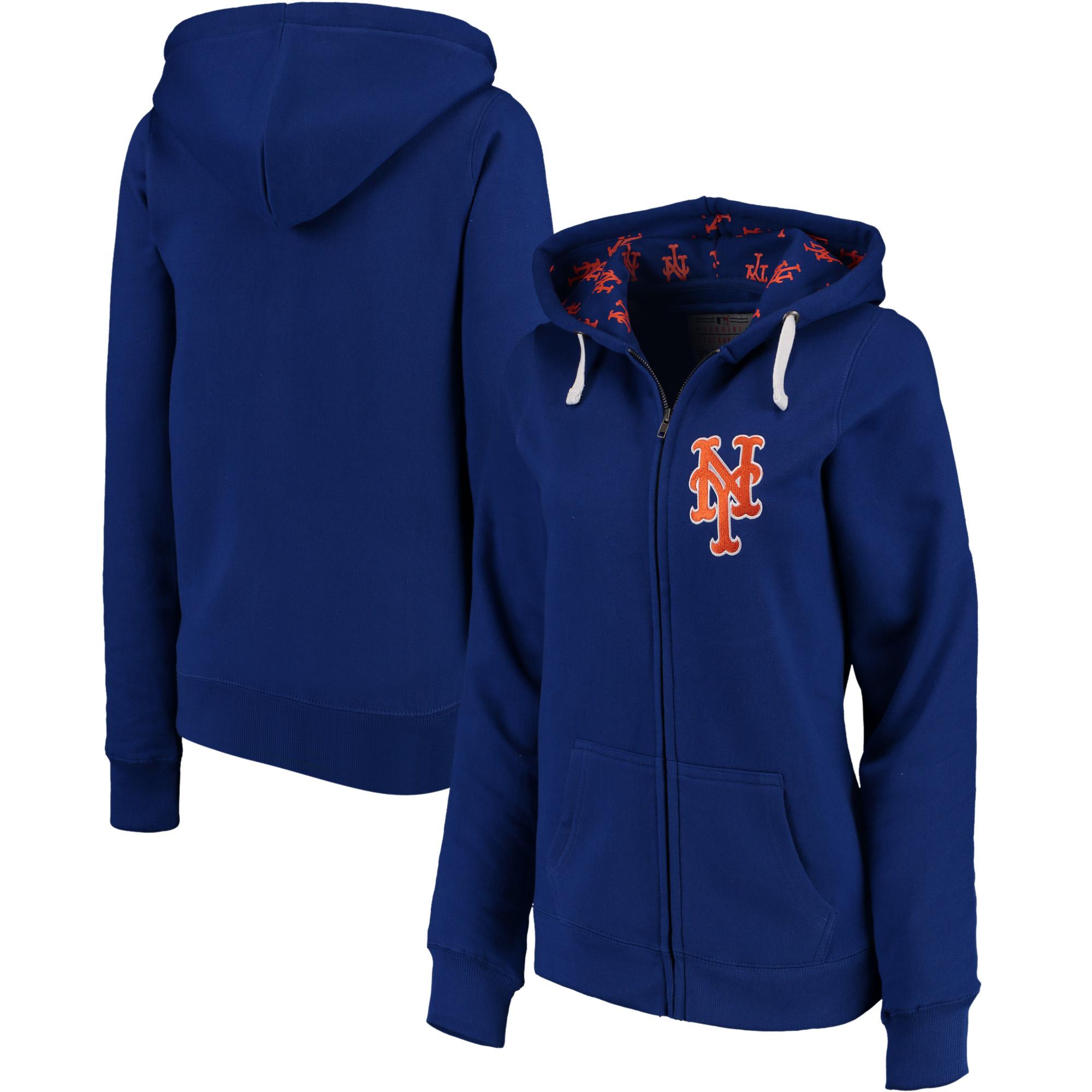New York Mets Soft as a Grape Women's Line Drive Full-Zip Hoodie - Royal