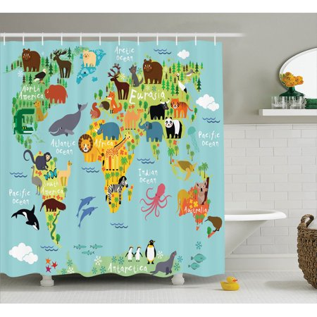 . Wanderlust Decor Shower Curtain Set  Animal Map Of The World For Children  And Kids Cartoon Mountains Forests  Bathroom Accessories  69W X 70L Inches