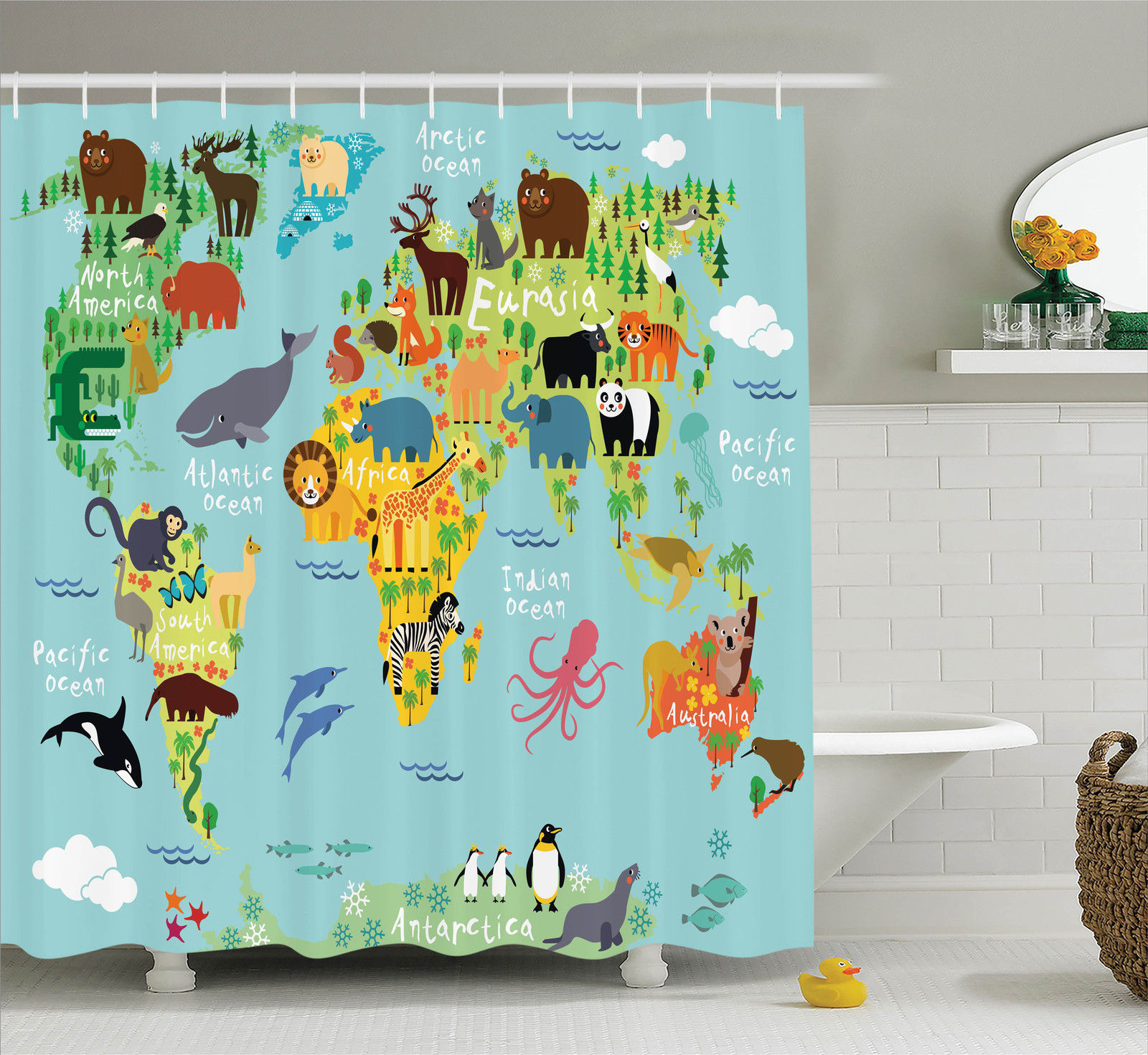 Wanderlust Decor Shower Curtain Set, Animal Map Of The World For Children  And Kids Cartoon