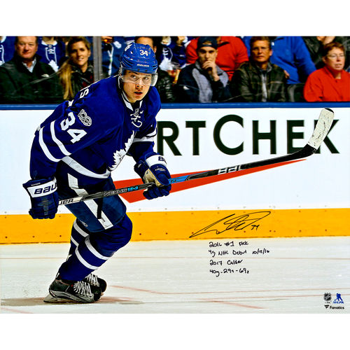 """Auston Matthews Toronto Maple Leafs Autographed 16"""" x 20"""" Blue Jersey Skating Photograph with Multiple... by Fanatics Authentic"""