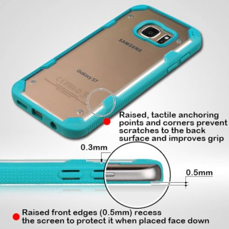 Insten Polygon Hard TPU Cover Case For Samsung Galaxy S7 - Clear/Teal - image 7 of 9