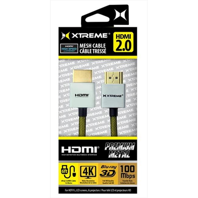 Xtreme Cables 94146 6 ft.  Premium Metal Mesh Braided HDMI Cable - Black