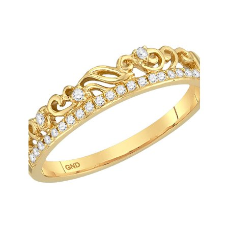 Diamond Accent Floral Ring (10kt Yellow Gold Womens Round Diamond Floral Accent Stackable Band Ring 1/12)