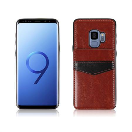 MUNDAZE Brown Faux Leather Back Rear Flip Wallet Card Case For Samsung Galaxy S9 PLUS Phone