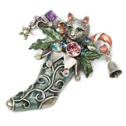 Sweet Romance Kitten In Christmas Stocking Vintage Pin Bronze