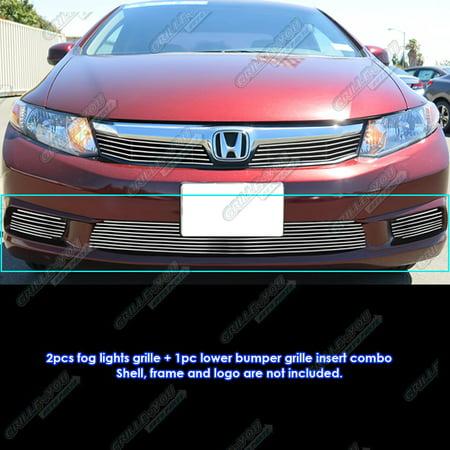 Compatible with 2012 Honda Civic Sedan Bumper and Fog Light Cover Billet Grille Combo - Bumper Cover Billet Grille