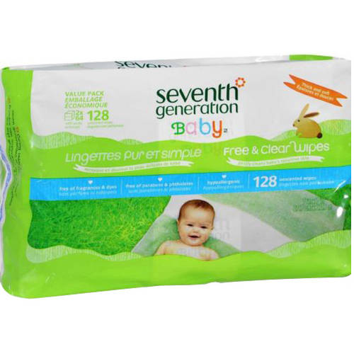 Seventh Generation Baby Free & Clear Baby Wipes, 128 SHeets, (Pack of 6) by Seventh Generation