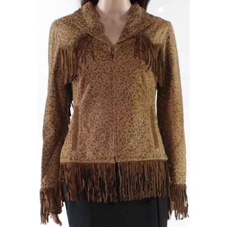 Womens Small Cheetah Print Faux Suede Jacket