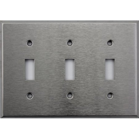 Classic Accents Brushed Satin Stainless Steel 3 Gang Toggle Switch Wall Plate (Speaker Wall Plate 3 Gang)