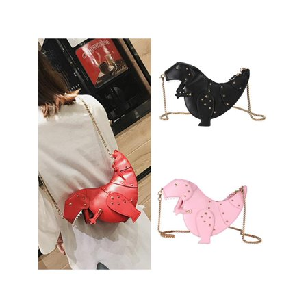 Women Girl 3D T-Rex Triceratops Crossbody Travel Shoulder Bag Rivet Chain Purse