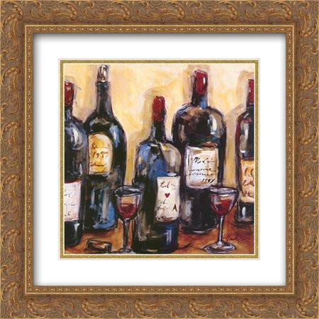 Wine Bar 2x Matted 16x16 Gold Ornate Framed Art Print by Nicole (Nicole Etienne Wine Bottles)