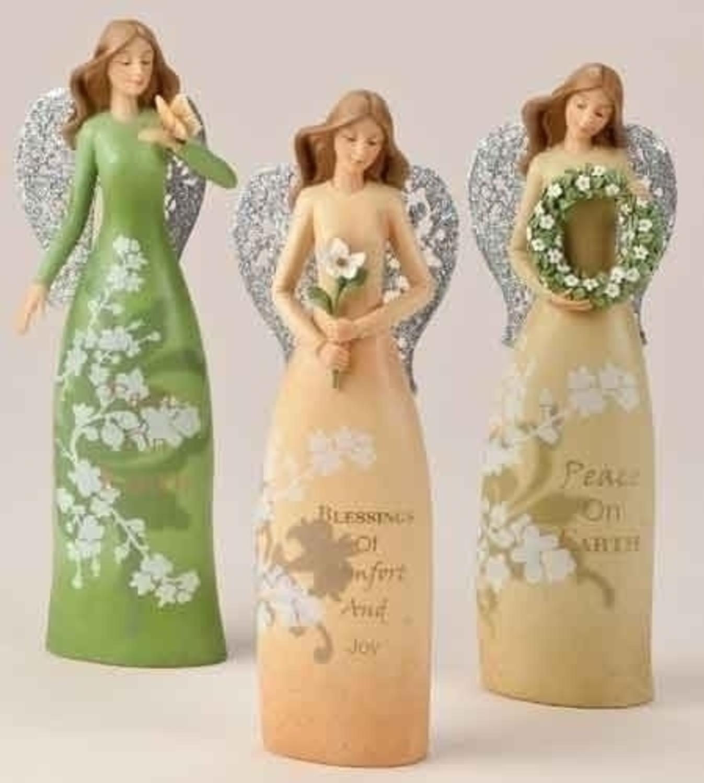 "8"" Christmas Garden Angel ""Peace on Earth"" Figure with Wreath"